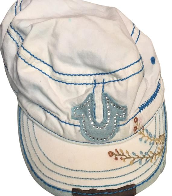 Item - White and Shades Of Blue with Rhinestones and Brown Leather Hat