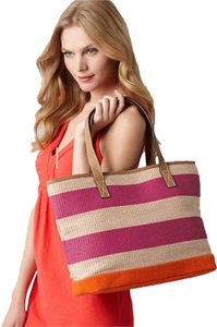 Ann Taylor LOFT Straw Beige Striped Beach Bag