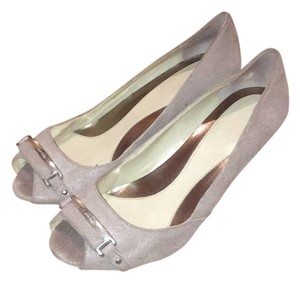 Calvin Klein Metallic Work Peep Toe Pumps Tan Wedges