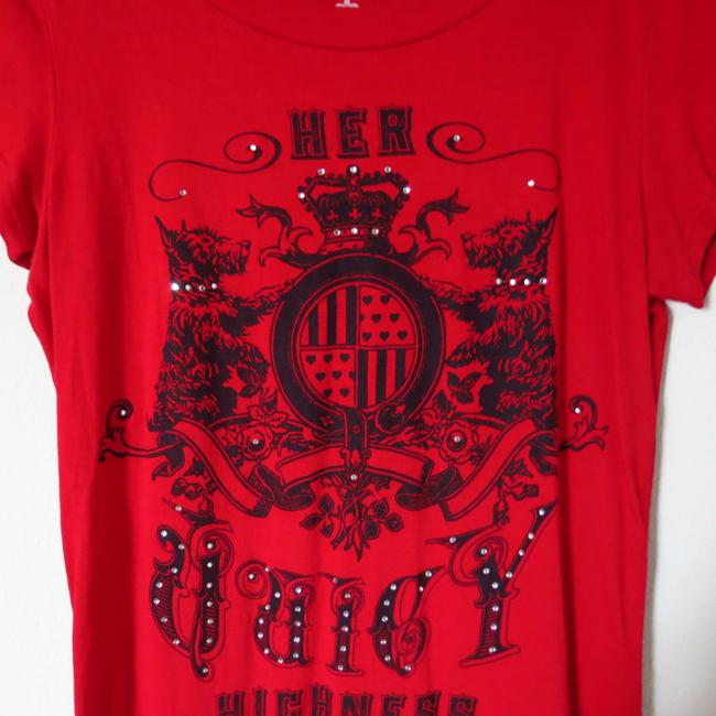 Juicy Couture Crystal Royal Cherry Graphic T Shirt Red
