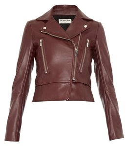 Balenciaga Soldout Leather Burgundy Leather Jacket