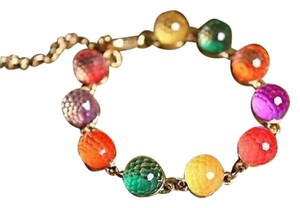 New Rainbow Retro Style With 7 Color Candy Beads Bracelet, Length 7