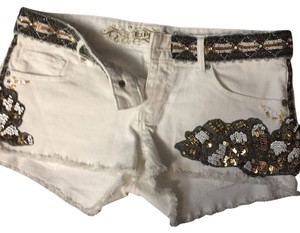 Express Cut Off Shorts White with black gold white and silver sequins and beads
