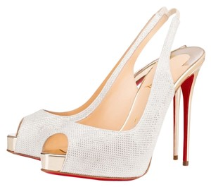 Christian Louboutin Private Number 120 Glitter Silver Redbottom White Pumps