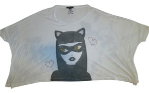 Tokidoki Graphic Catwoman Batwing Sleeves T Shirt White