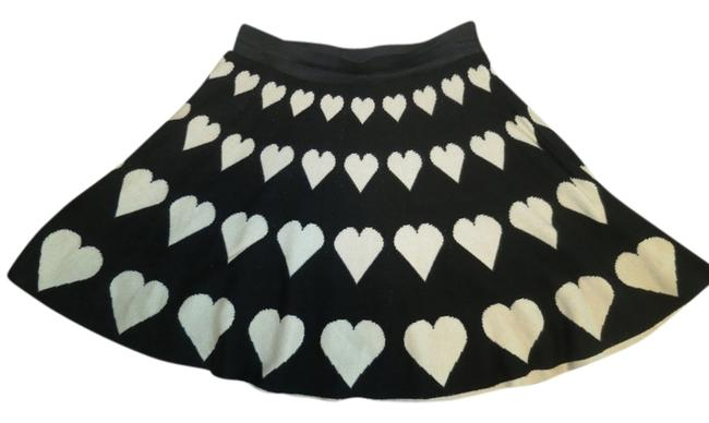 ASOS Knit Heart Print Elastic Waistband Skirt Black/White