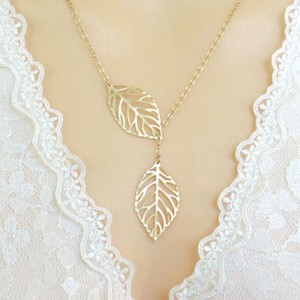 Other New SALE Leaf Lariat in gold - Gold Jewelry - Modern Dainty - Lovely -
