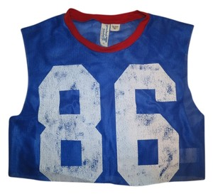 Project Social T Mesh Number Jersey Sheer Cropped Top Blue/Red/White