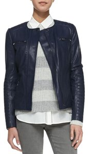 Vince Leather Dark Blue Leather Jacket