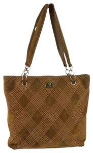 Chanel Suede Stitched Quilted Tote in Tan