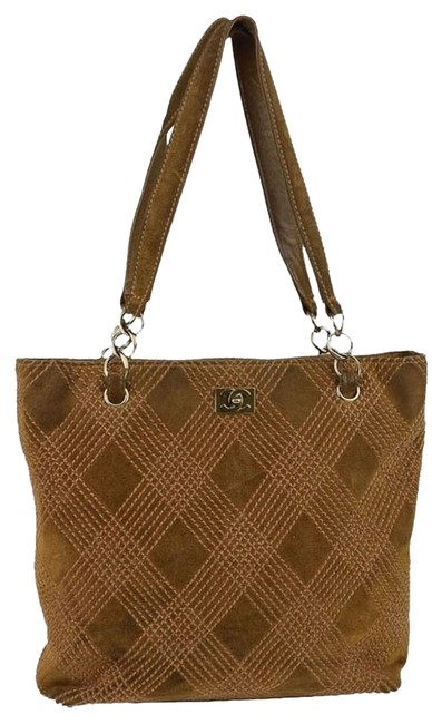 Chanel Stitched Tan Suede Tote Chanel Stitched Tan Suede Tote Image 1
