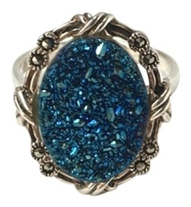 Vintage 925 Sterling Silver Blue Druzy Marcasite Ring