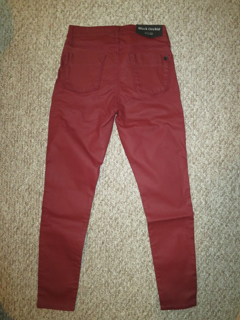 Black Orchid Denim Coated Straight Pants Oxblood