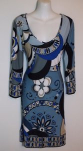 Emilio Pucci short dress Blue Silk Signature Print Floral on Tradesy
