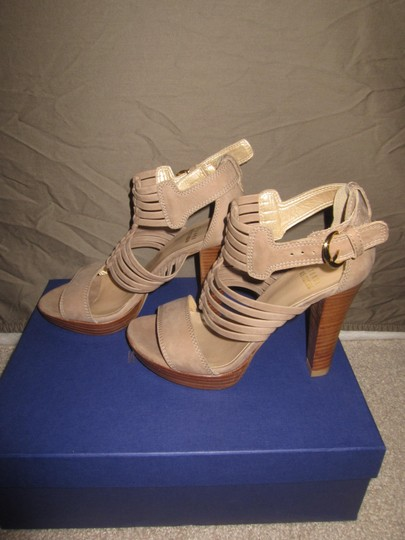 Stuart Weitzman Athens Heels Tan Leather Tan Nubuc Sandals