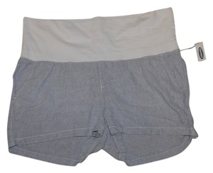 Old Navy NWT Old Navy Maternity Roll-Over navy blue/white stripe linen blend shorts size Medium NEW