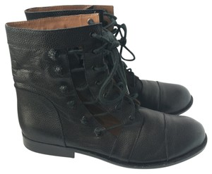 Matiko Leather Lace-up Cut-out Black Boots