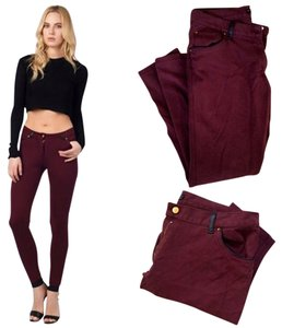 Zara Stretchy Burgundy Piping Skinny Pants oxblood