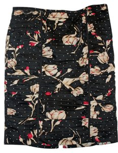 White House | Black Market Work Wear Polka Dot Skirt Black w/pink & gold flowers