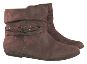 Bongo Suede Flat Ankle Turn Down New Strappy Gray Boots