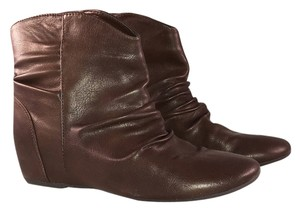 Bongo Leather Ruched Flat Wedge Brown Boots
