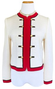 St. John Jacket Military Leader Cream, Red and Black Blazer