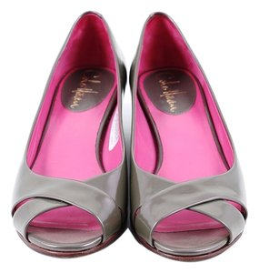 Cole Haan Gray Patent Leather Peep Toe Iridescent Gray Flats