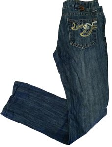 Diesel Embroidered Embellished Distressed Straight Leg Jeans-Distressed