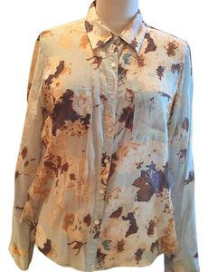 Talbots Button Down Shirt Vintage blue with shades of brown florals