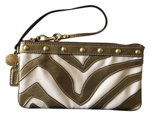 Coach Wristlet in Metallic Gold and White