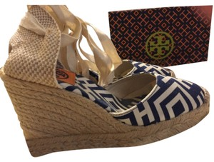Tory Burch Navy, white, tan Wedges