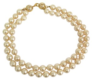 Chanel Chanel Vintage Double Strand Pearl Gold Cc Hardware Pearl Choker Necklace in Box