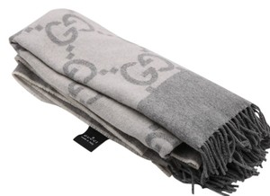 Gucci * Gucci Gray Wool/Cashmere Monogram Throw Blanket