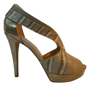 Nine West Nude Gold Neutral Nude, Gold, Neural Animal Print Platforms