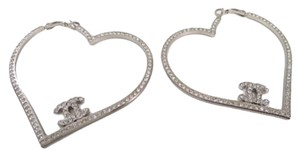 Chanel Chanel CC Silver And Rhinestone Heart Hoop Earrings In Box