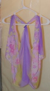 Other Purple/Pink/Yellow Floral Chiffon Scarf Vest Free Shipping Dress