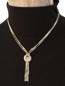 Other Polished Sterling Silver Triple-Chain Necklace with Circle Design