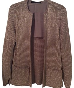 Zara Woman Gold Metallic Shimmer Knit Jewel Neck Cardigan Jacket Blazer Dressy Night Out Bling Glitter Nude Chiffon Mocha Sweater