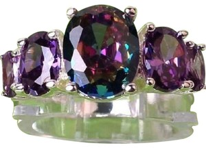 Other New Size 7, Sterling Silver Mystic Rainbow Topaz Amethyst Ring