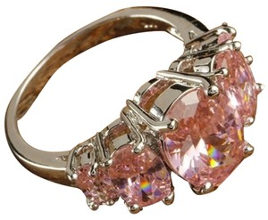 New Size 7, Oval Cut Pink Topaz Gemstones Silver Ring
