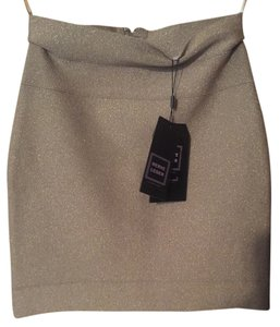 Hervé Leger Herve Bandage Pencil Mini Mini Skirt Shimmer taupe