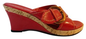 Athena Alexander Patent Cork Red Wedges
