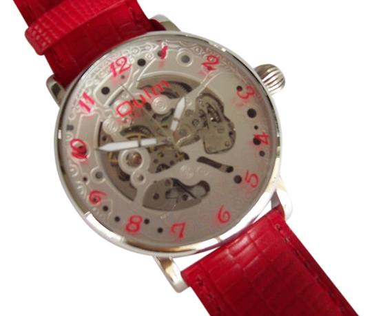 Oulm Automatic Oulm Men's Skeleton Watch With Striking Red Numerals-FREE SHIPPING