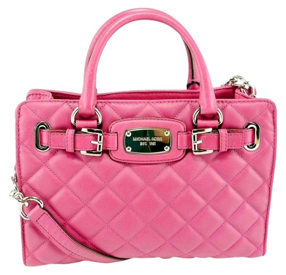 michael kors hamilton medium quilted pink leather satchel tradesy rh tradesy com