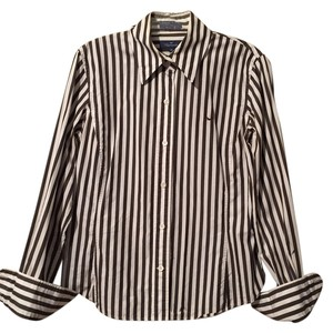 Faonnable Faconnable Classic Shirt Top Dark brown/ white stripes