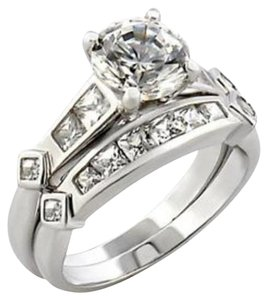 New Size 7, 3 CT Rhodium Plated CZ Wedding Set