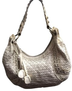 Isabella Fiore Leather Cream Hobo Bag