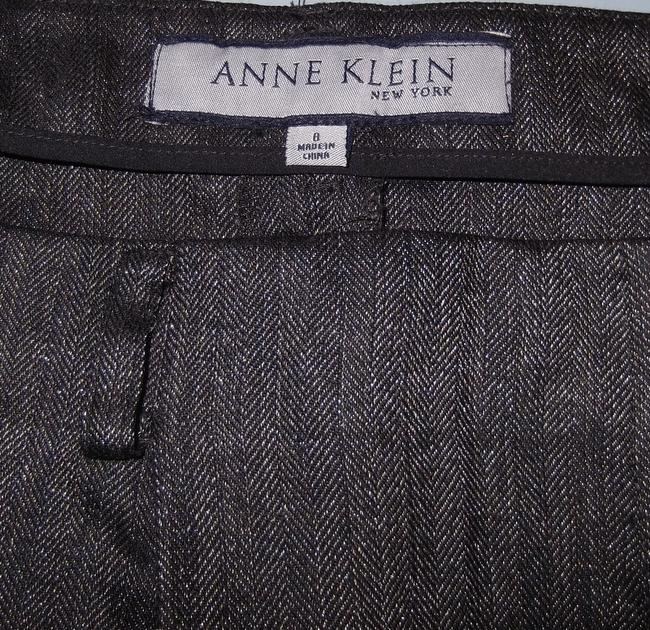 Anne Klein Wool Size 8 Silver Trouser Pants Black