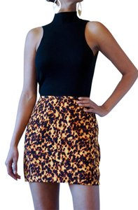 Nicole Miller Ultra Mini Silk Made In Usa Mini Skirt leopard print