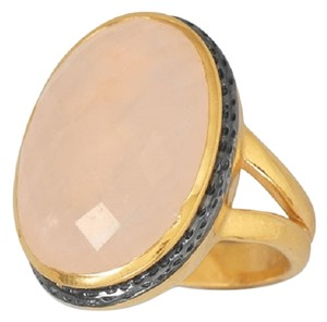 HOT ITEM (New) 14 Karat Gold Plated Ring with Faceted Rose Quartz